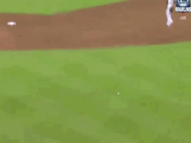 Marcell Ozuna's Throw Home Almost Hits His Teammates In The Dugout