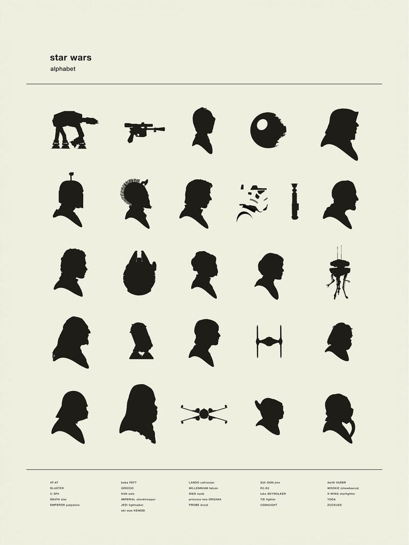 Try to name all the silhouettes in this Star Wars alphabet