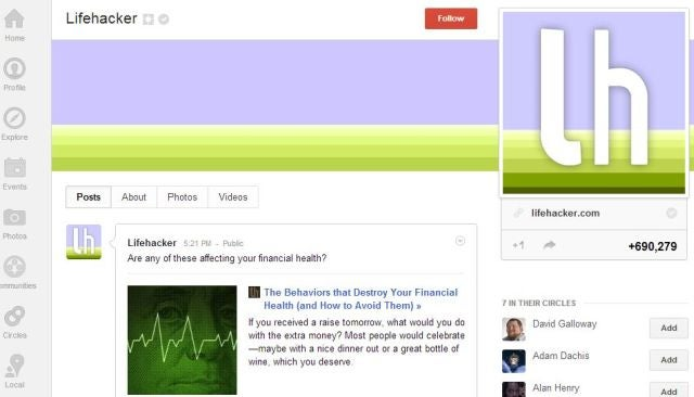 Circle Lifehacker at Google+ For Our Top Stories Right in Your Stream