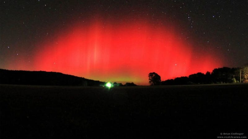 A rare view of the aurora borealis, shot from a field in...Arkansas?