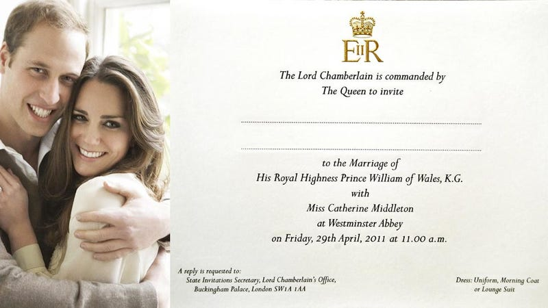 See William and Kate's Royal Wedding Invitation