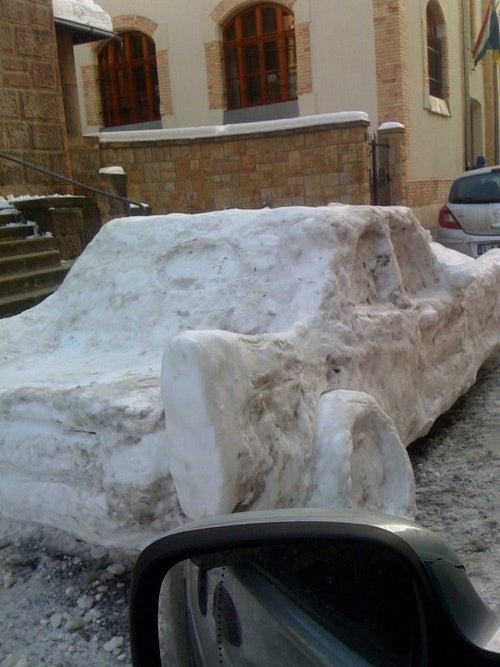 Wicked Snow Car In Snowed-In Budapest