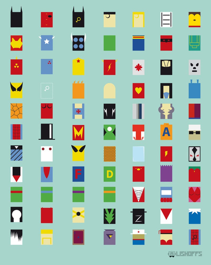 77 superheroes represented as minimalist rectangles