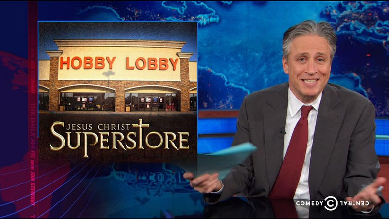 Watch Jon Stewart Skewer Hobby Lobby as 'Jesus Christ Superstore'