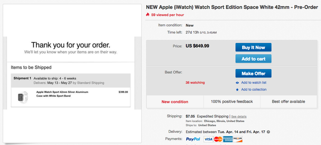 You Can Buy an Apple Watch on eBay—But It Won't Be Cheap