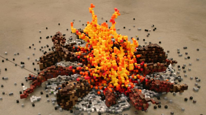 8-bit sculptures made the old-fashioned way