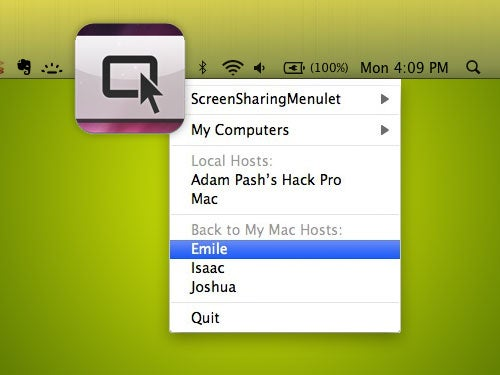 ScreenSharingMenulet Provides Easy, Menubar Access to VNC Servers