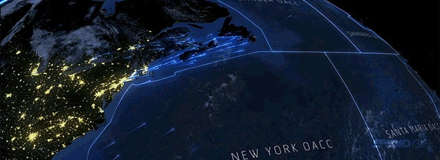 Every single airplane crossing the North Atlantic in a 24-hour period