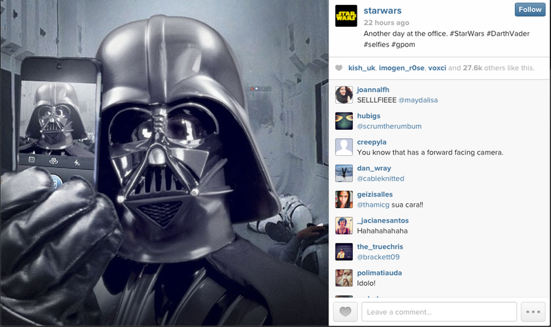 Breakdowns: Instagram Is Trying To Get Rich Off Of Darth Vader Selfies