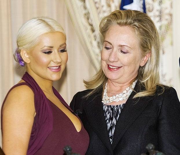 Here's a Photo of Hillary Clinton Admiring Christina Aguilera's Deep Decolletage