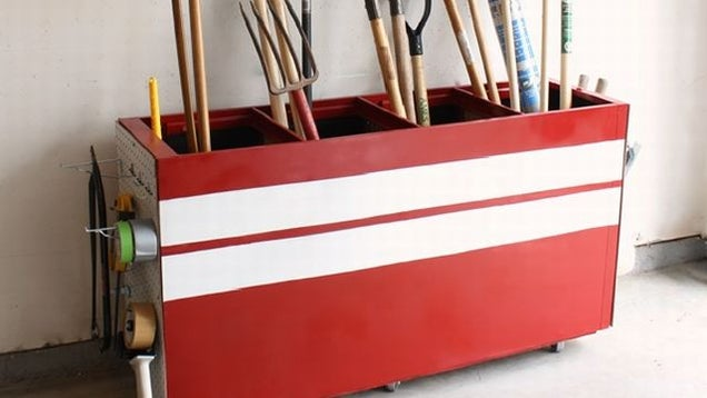 Repurpose an Old File Cabinet as Garage Storage