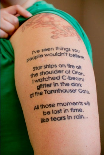 A one of a kind tattoo celebrating our favorite replicant for One of a kind tattoos