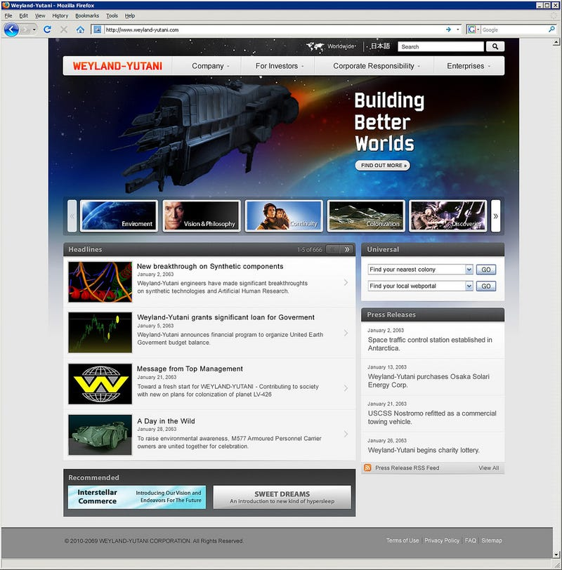 Websites for scifi's most famous evil corporations, based on real-life corporate websites