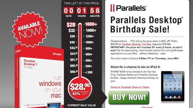 Parallels Desktop 7 for Mac on Sale for $28