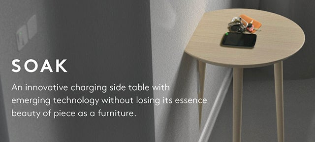 A Side Table For Charging Gadgets That Plugs Right Into the Wall