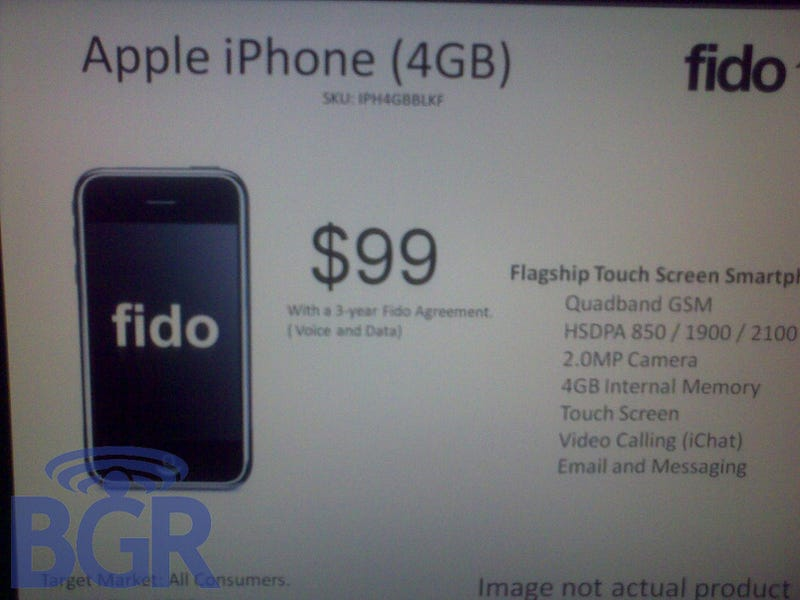 """Leaked"" Fido 2009 Roadmap Points at $99 4GB iPhone with iChat"