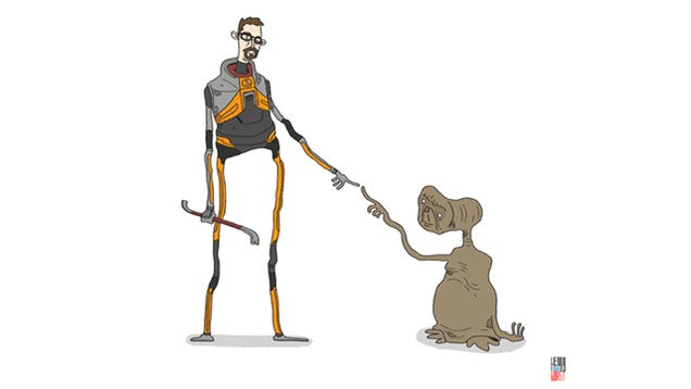 No, E.T., No! Run Away Before Gordon Freeman Whacks You With The Crowbar!