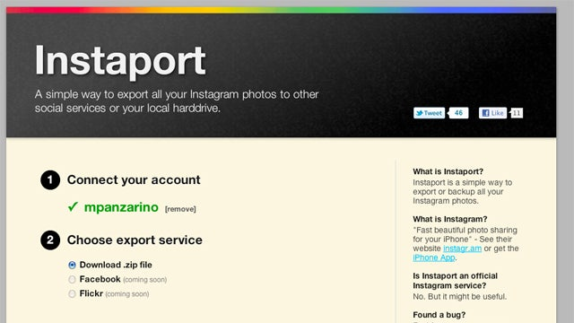 Backup Your Hipster Shots On Instagram Using Instaport