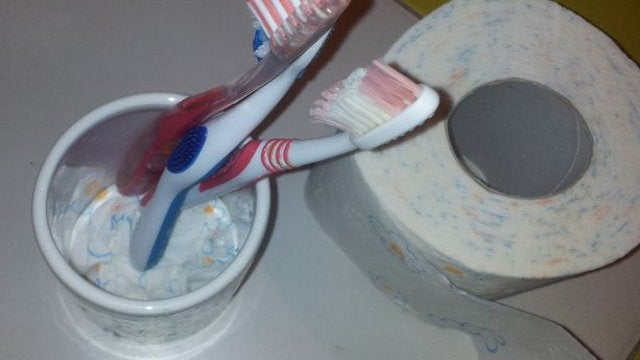 Prevent Toothbrush Cup Gunk Accumulation with Toilet Paper