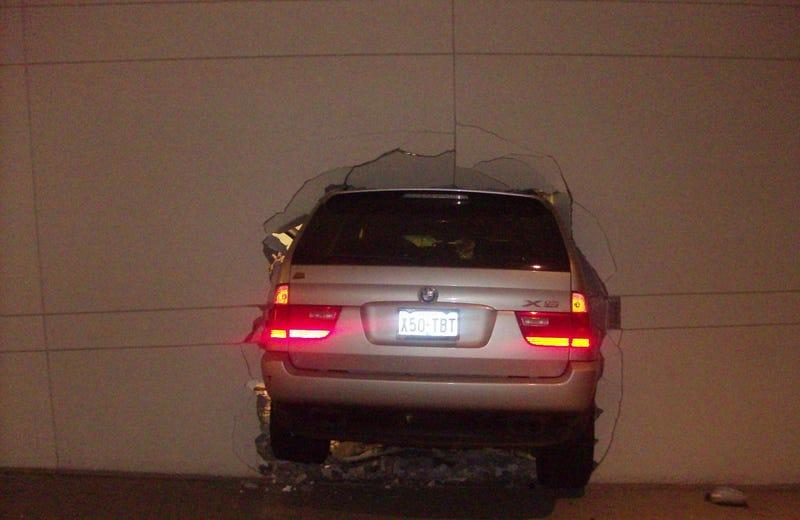 Houston BMW X5 Driver Slams Car Through Parking Garage Wall