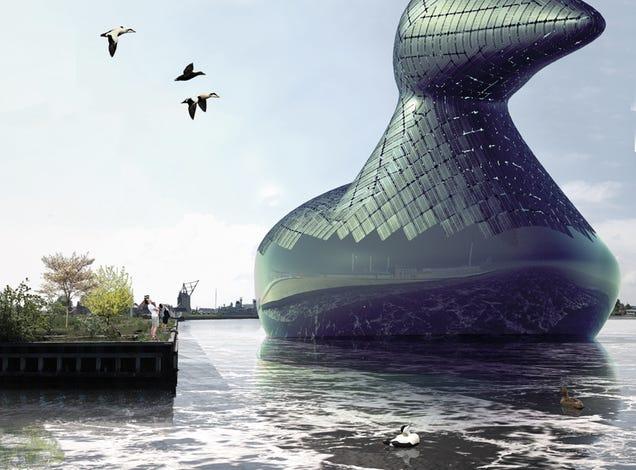 Un pato flotante gigante que genera energía solar-Porque, ¿Por qué no?
