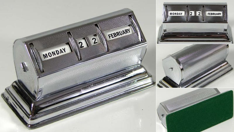 With this Chrome Rotary Desk Calendar, You Won't Care if Monday's Black