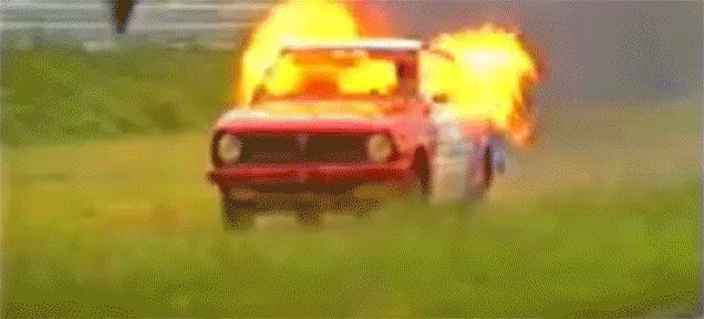 Flaming Dutchman In '70s Corolla Jumps Car, Is Absolutely Bonkers-Nuts