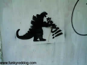 Destroy All Boring Art, With Godzilla
