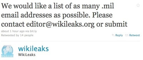 Why Is Wikileaks Collecting Military Email Addresses?