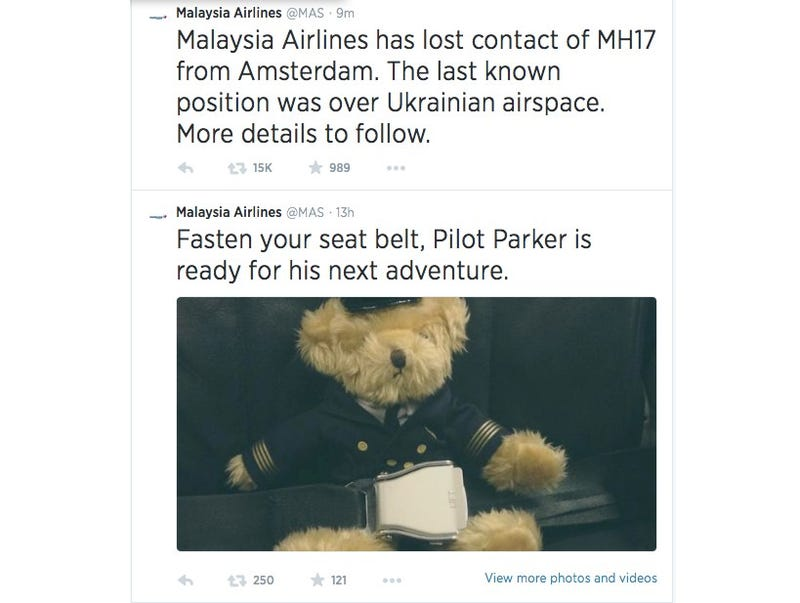 Malaysia Airlines Deleted Teddy Bear Tweet After Plane Went Down