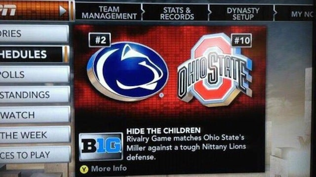 "NCAA Football 12 On Penn State-Ohio State Match-Up: ""HIDE THE CHILDREN"""
