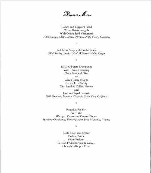 The White House State Dinner Menu: Delish!