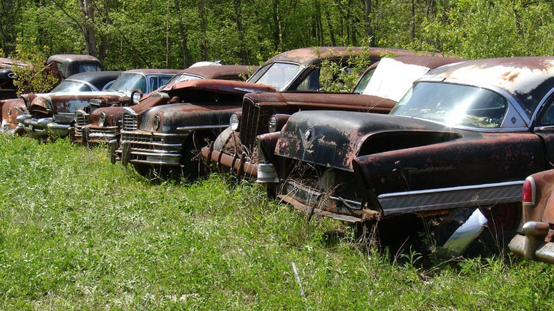 A line of Packards