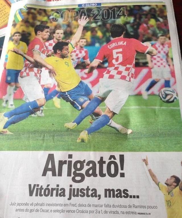 Brazilian Newspaper Thanks Ref Who Rewarded Dive
