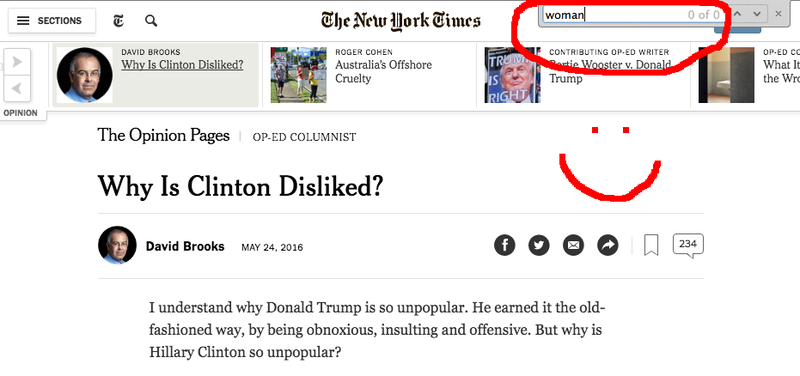 David Brooks Writes Column Titled 'Why Is Clinton Disliked?' That Does Not Contain the Word 'Woman'