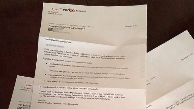 Verizon Confirms Paperless Billing by Mailing Four. Paper. Letters.