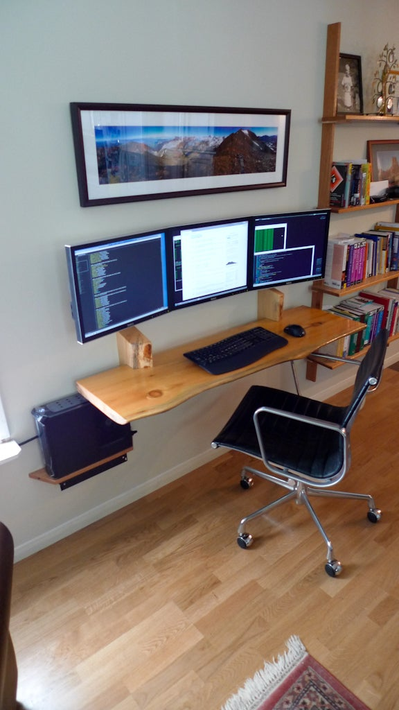 The Slimline Workspace Hungarian Shelves And Hidden Cables Gallery