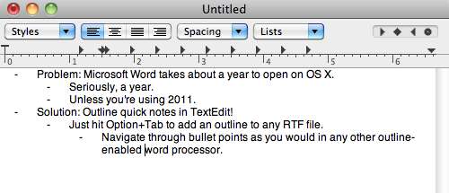 Enable Outline Mode in OS X's TextEdit