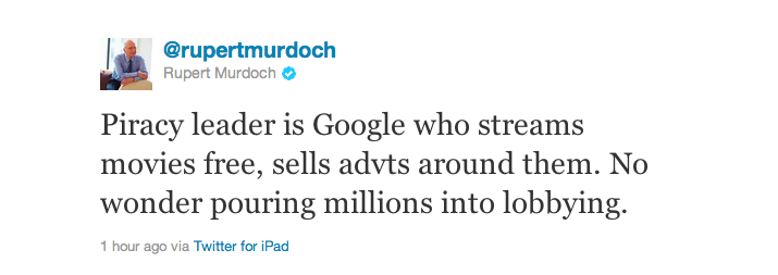 "Murdoch Slams Obama For ""Supporting Online Piracy""—Calls Google ""Piracy Leader"""