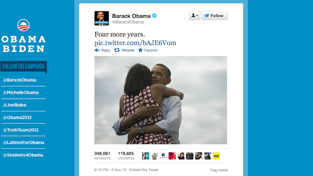Your President for the Next 4 Years Barack Obama Just Probably Tweeted the Most Popular Tweet of All Time
