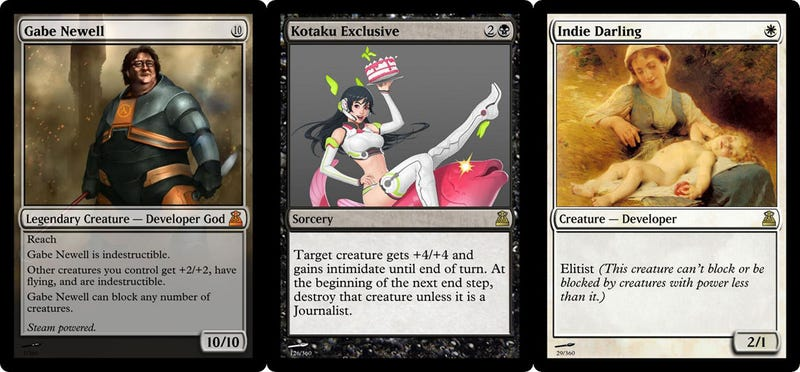 Gabe Newell, EA And...Kotaku Are Now Magic Card Characters