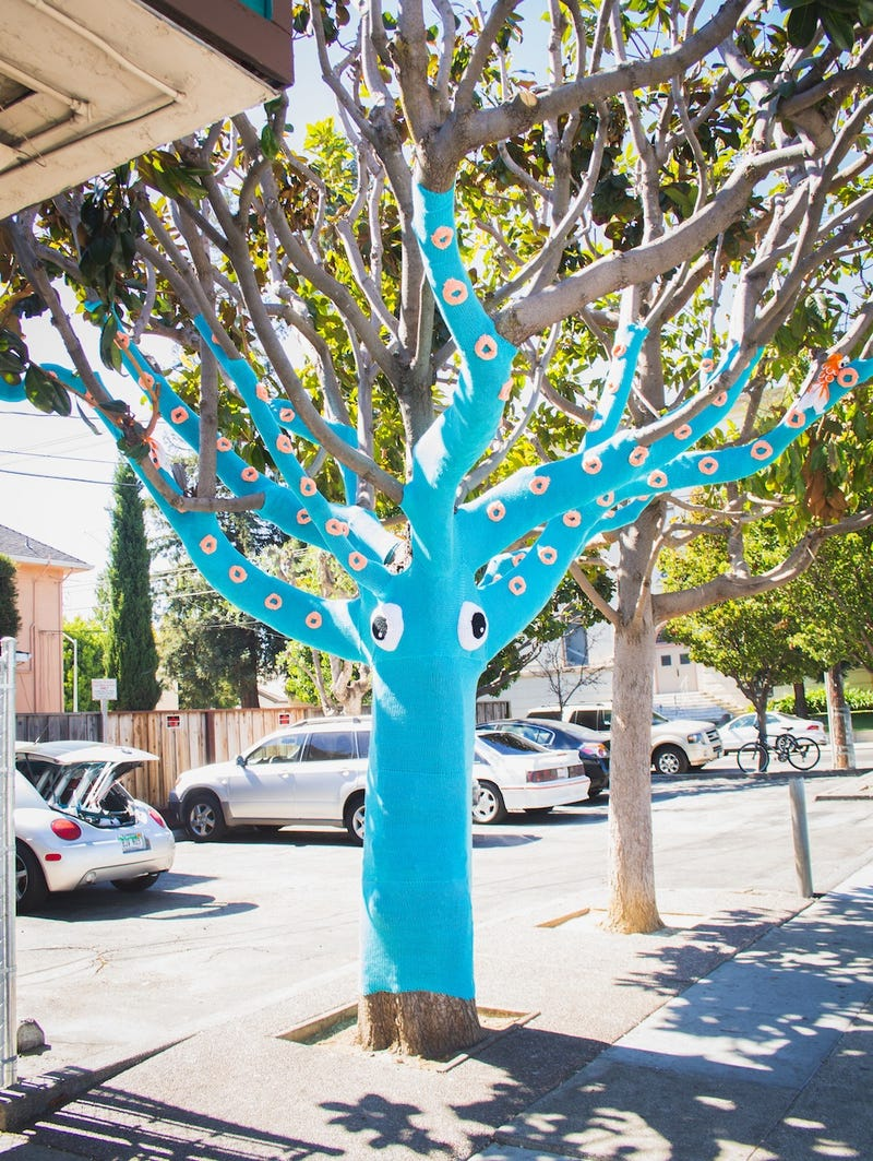 It took four miles of yarn to turn this tree into a knit squid