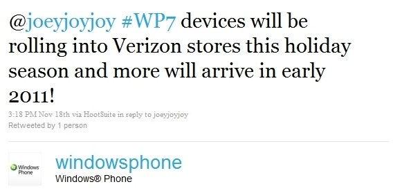 Windows Phone Twitter Says Verizon Will Get Windows Phone 7 This Holiday