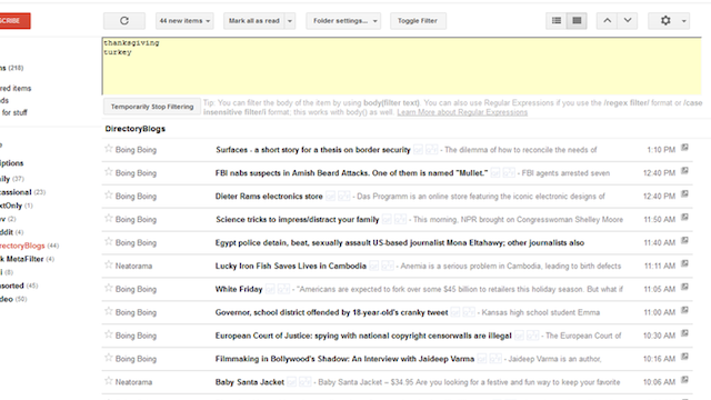 The Google Reader Filter Userscript Lets You Sort and Save Your Starred Articles