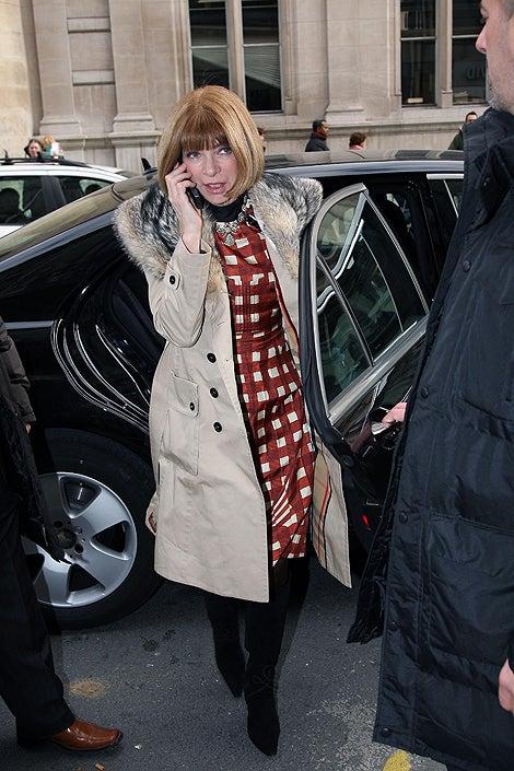 Anna Wintour: Fur? Check. Phone? Check. Sunglasses? Sunglasses?!