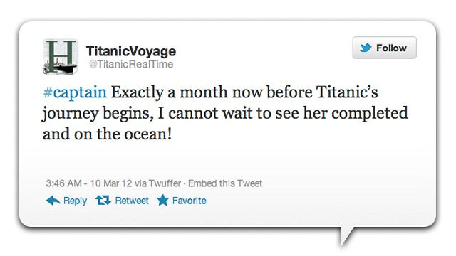 Commemorate the 100th Anniversary of the Titanic's Sinking by Reliving it Through Twitter