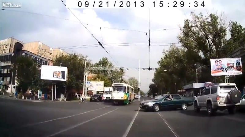 Watch A Road-Raging Asshat Get Instant Karma Via A Tram