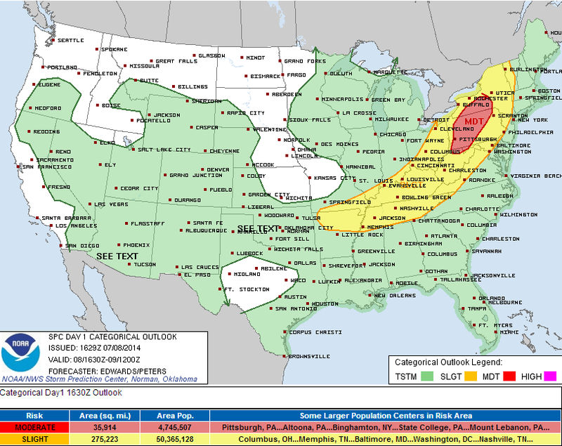 Widespread Damaging Winds Likely Today in Pennsylvania and New York