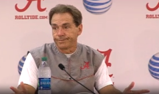 Nick Saban Walks Out Of Press Conference Over D.J. Fluker Questions