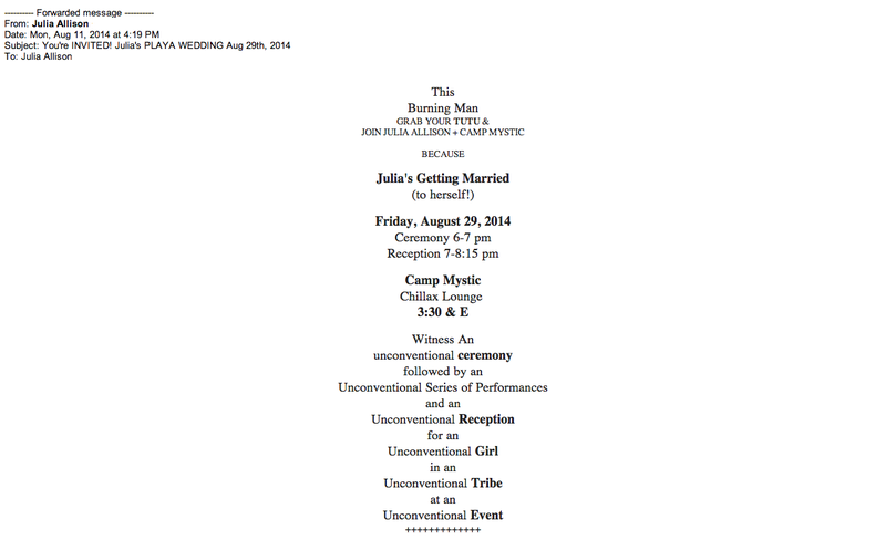 Here Is the Invitation to Julia Allison's Wedding to Herself